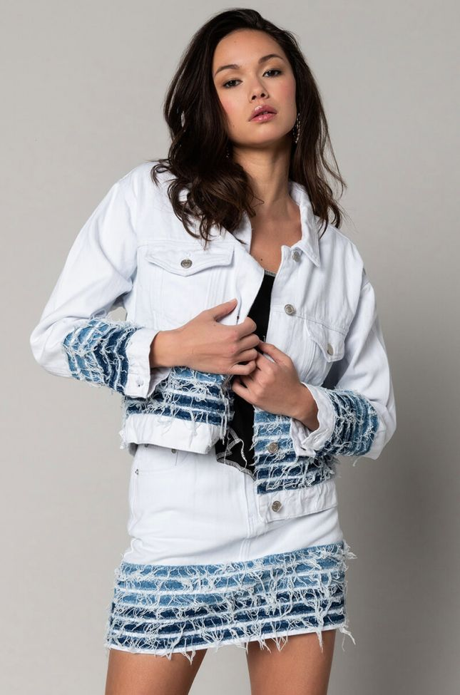 Front View Good Problem Distressed Denim Jacket in White Multi