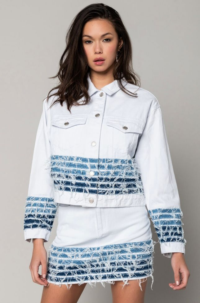 Side View Good Problem Distressed Denim Jacket in White Multi