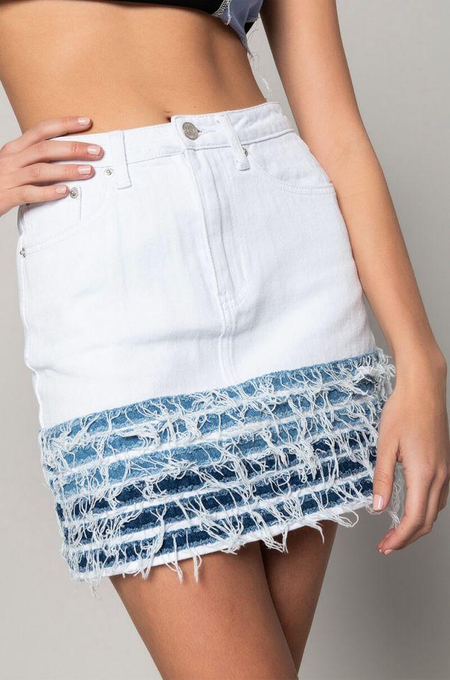 Full View Good Problem Mini Distressed Denim Skirt in White Multi