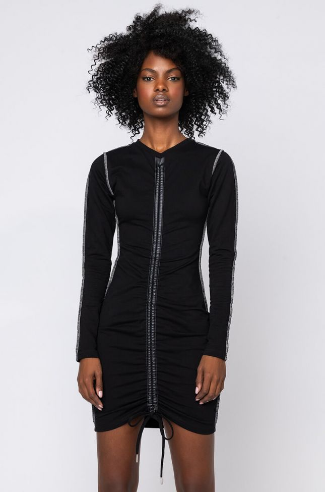 Front View Good Time Ruched Front Mini Dress in Black
