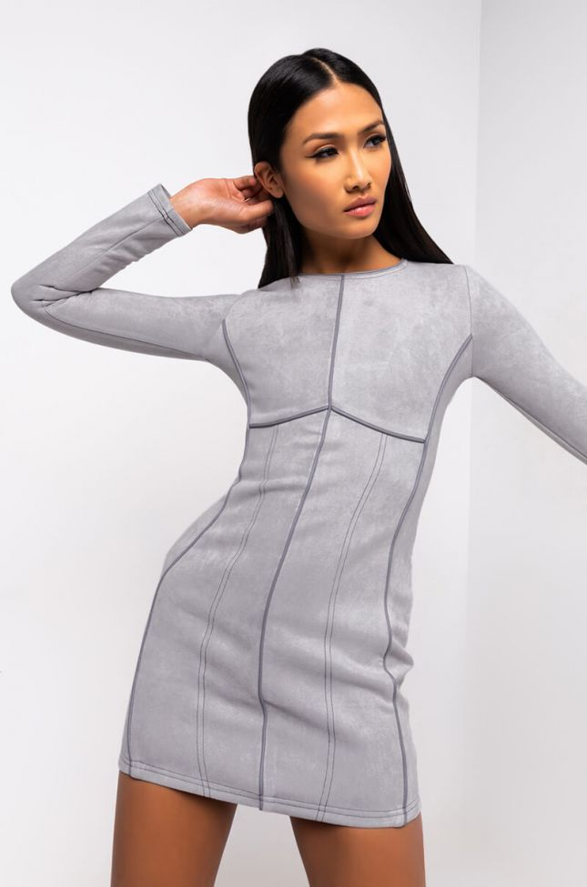 Front View Good Work Long Sleeve Mini Dress in Grey