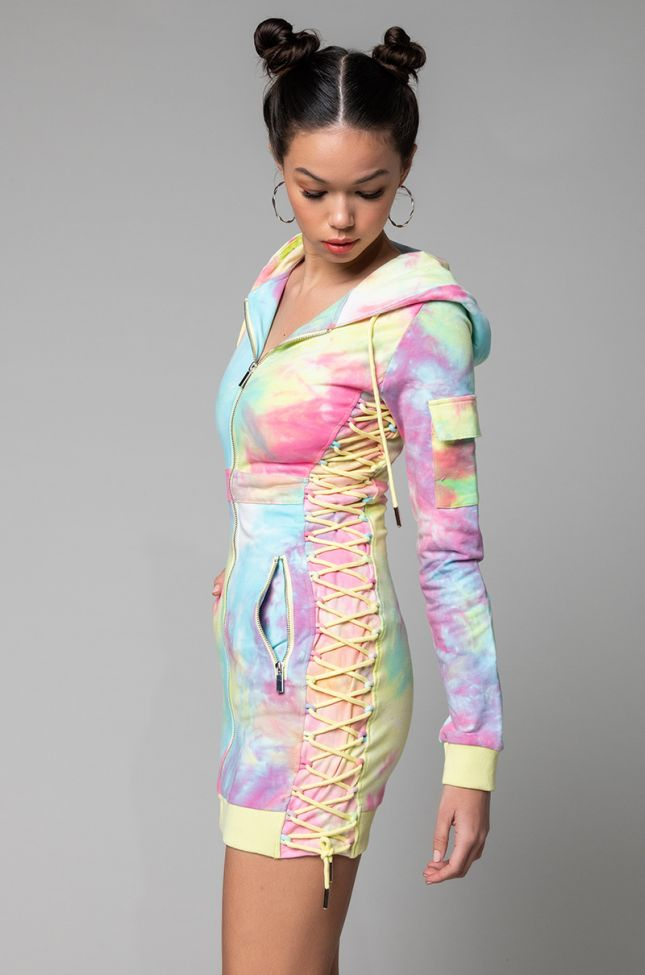 Side View Got All The Flavas Lace Up Detail Hoodie Dress in Pink Multi