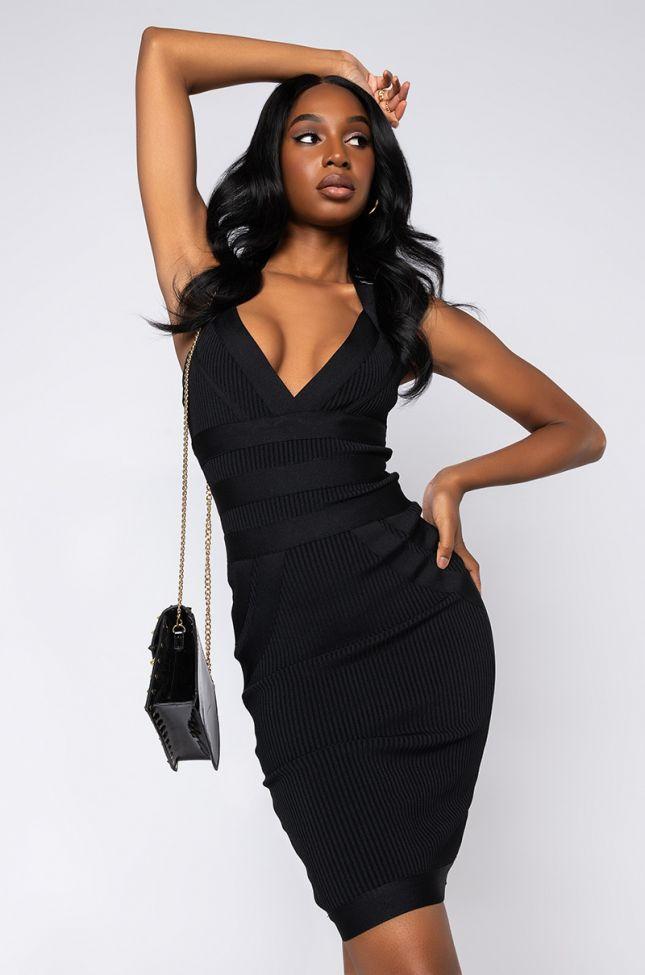 Front View Got Me Good Bandage Knit Halter Midi Dress in Black