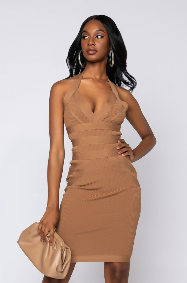 Side View Got Me Good Bandage Knit Halter Midi Dress in Light Brown