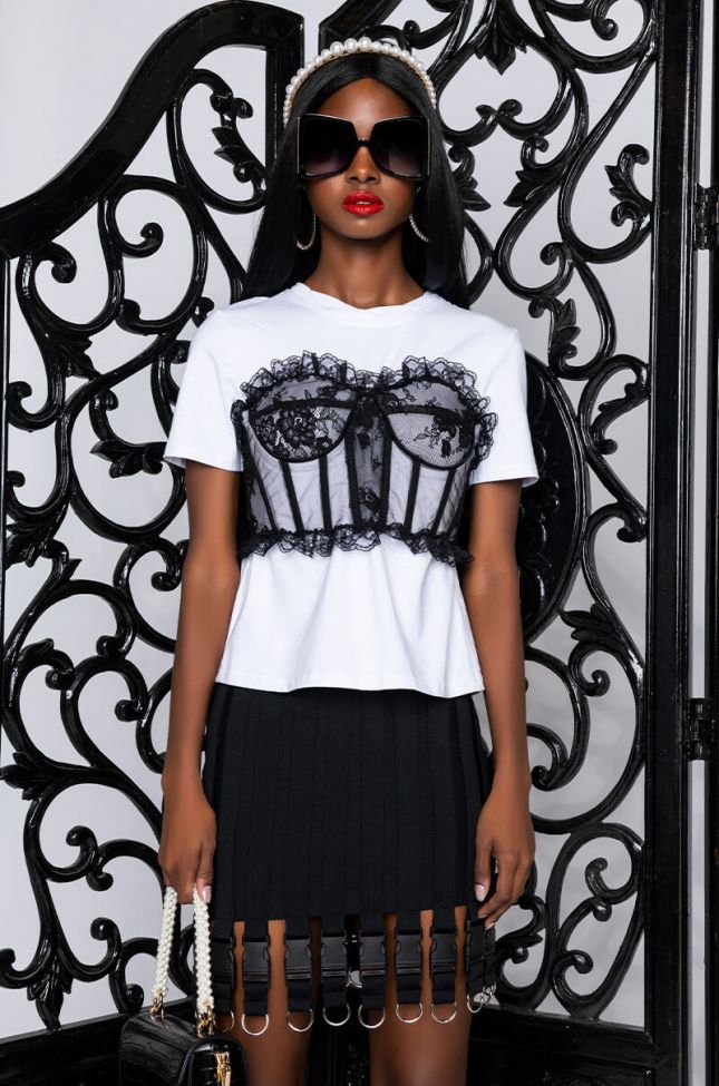 Front View Got Me Twisted T-shirt With Corset Detail in White