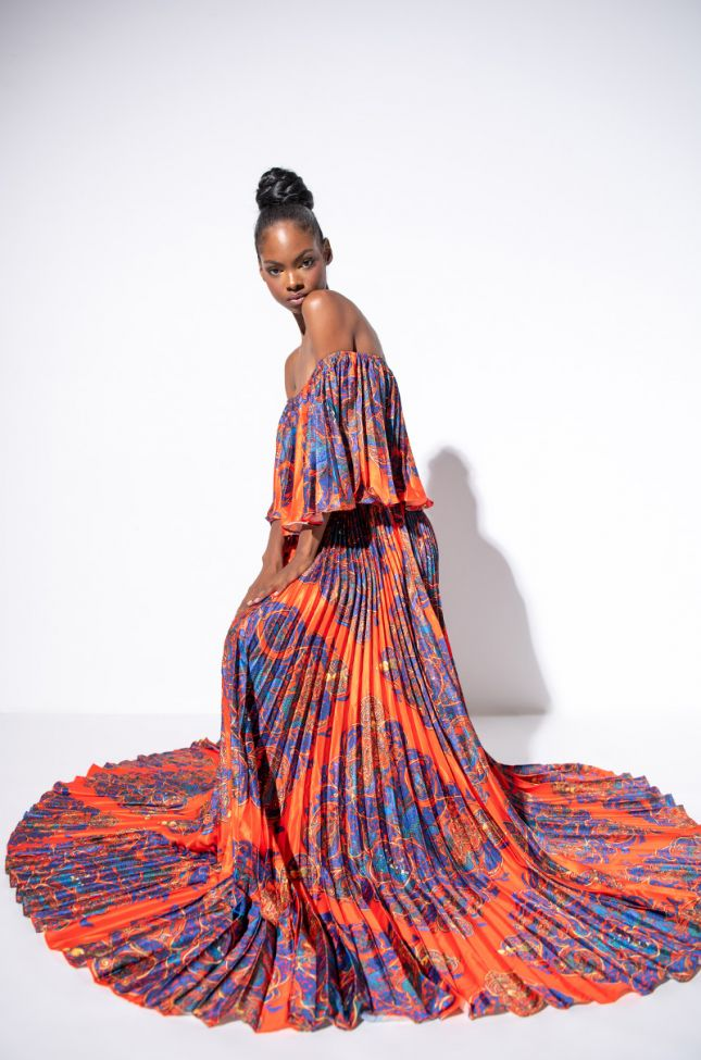 Front View Got Them Thinking Off The Shoulder Maxi Dress in Orange Multi