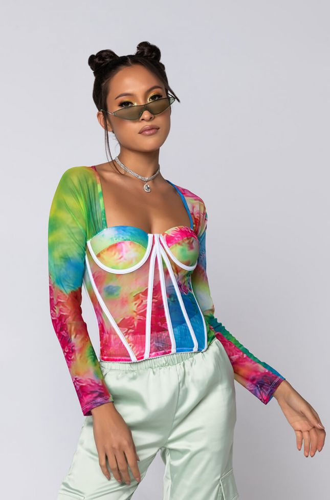 Front View Got To Be Your Everything Mesh Long Sleeve Corset Blouse in Blue Multi