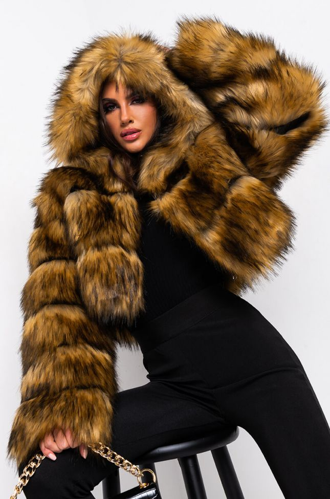 Side View Gracelle Faux Fur Cropped Jacket in Brown
