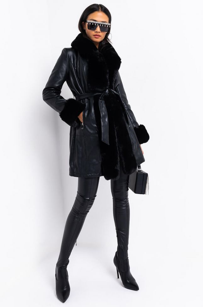 Gram Girl Pu Dressy Coat With Faux Fur Collar And Wrists in Black