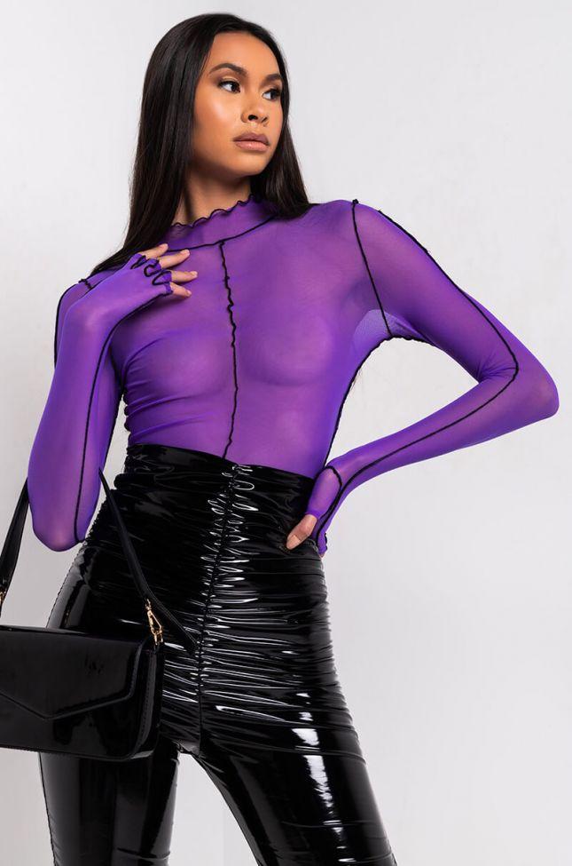 Side View Grape Soda Inverse Seam Long Sleeve Bodysuit in Purple