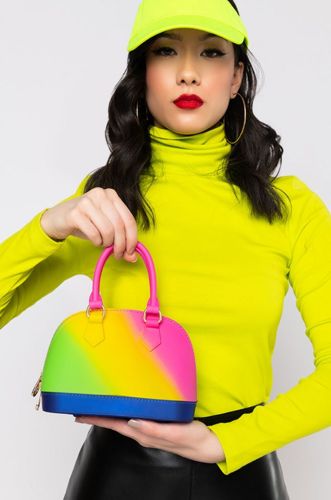 Front View Gumball Bowler Bag in Rainbow Multi