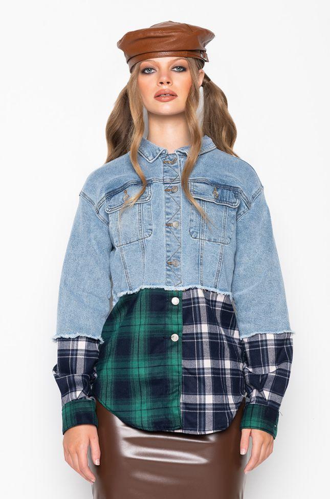 Back View Hailey Denim Plaid Oversized Jacket