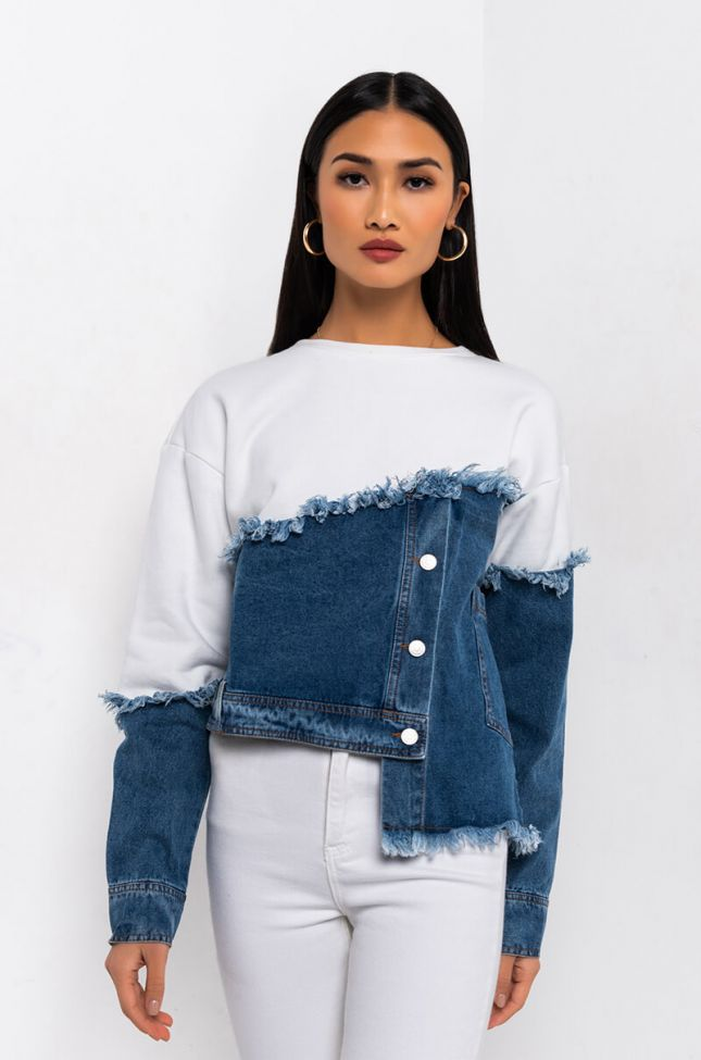 Front View Half Half Denim Detail Sweatshirt in White Multi