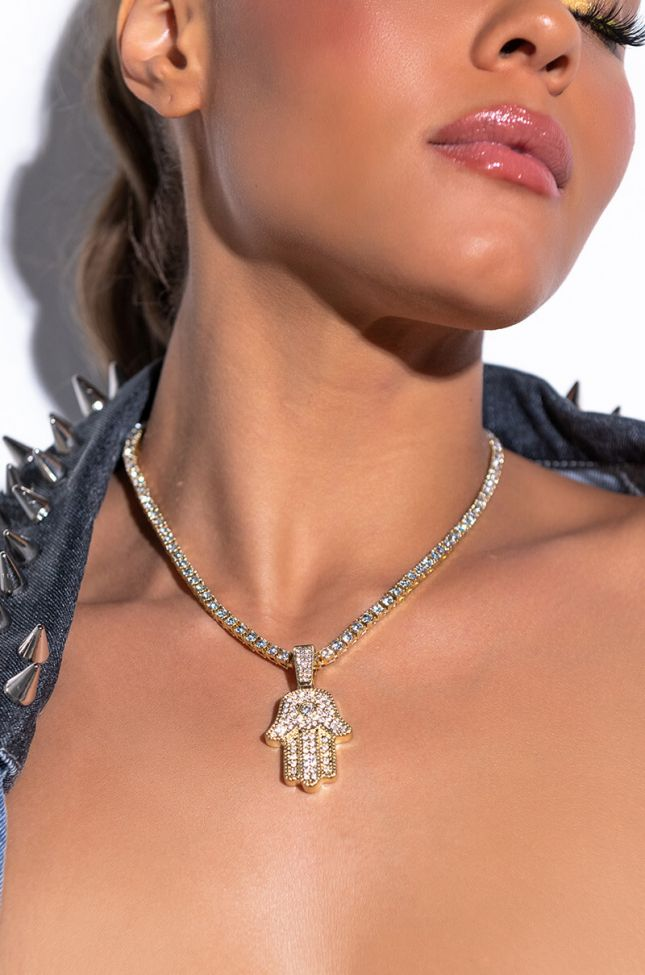 Front View Hamsa Iced Out Tennis Chain