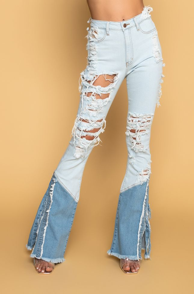 Front View Hannah High Rise Flare Jeans in Light Blue Denim