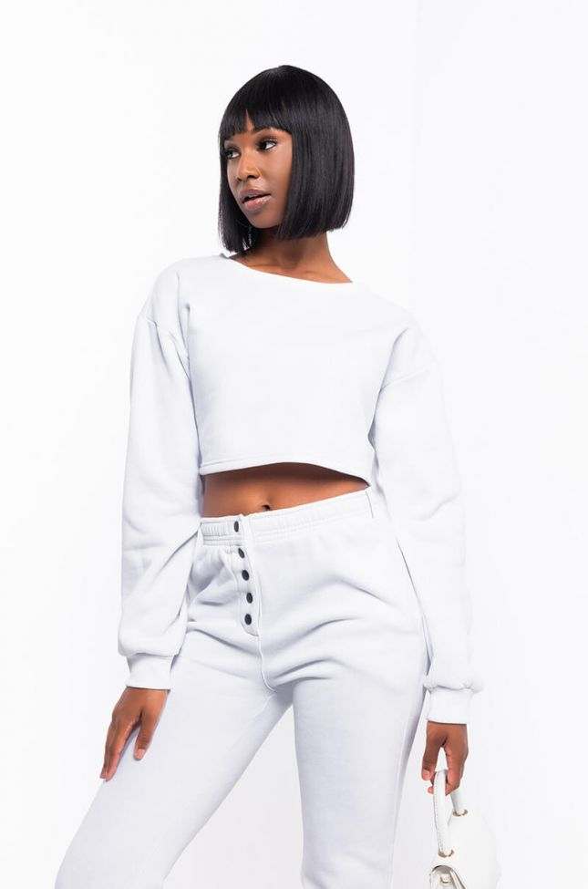 Front View Hannah Paxton Sweatshirt in White