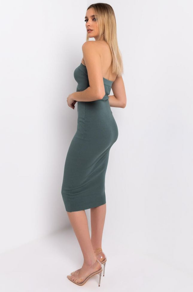 Side View Happy Home Tube Midi Dress in Light Green