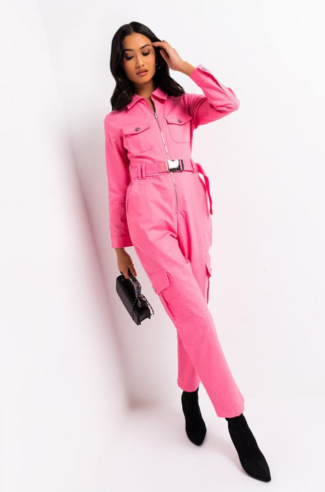 Front View Hard At Work Stretch Jumpsuit in Pink