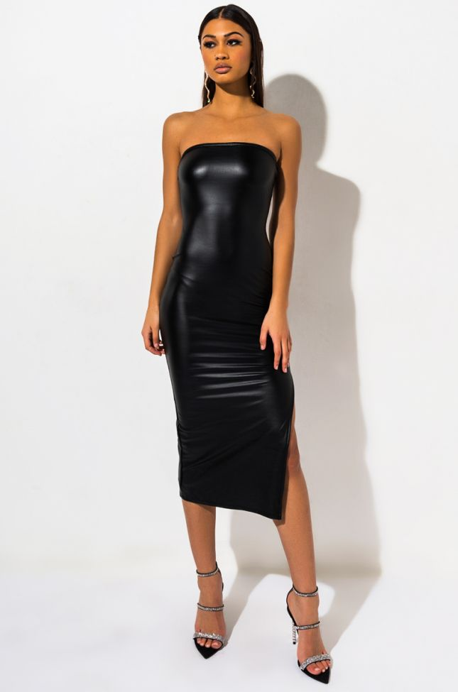 Front View Hard Times Tube Midi Dress in Black