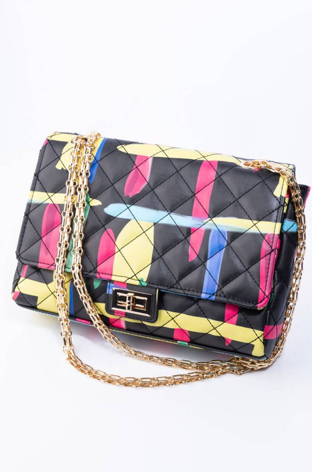 Side View Haring Painted Quilted Purse in Black Multi