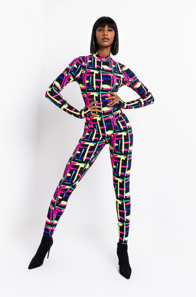 Full View Harring Long Sleeve Mock Neck Bodysuit in Pink Multi