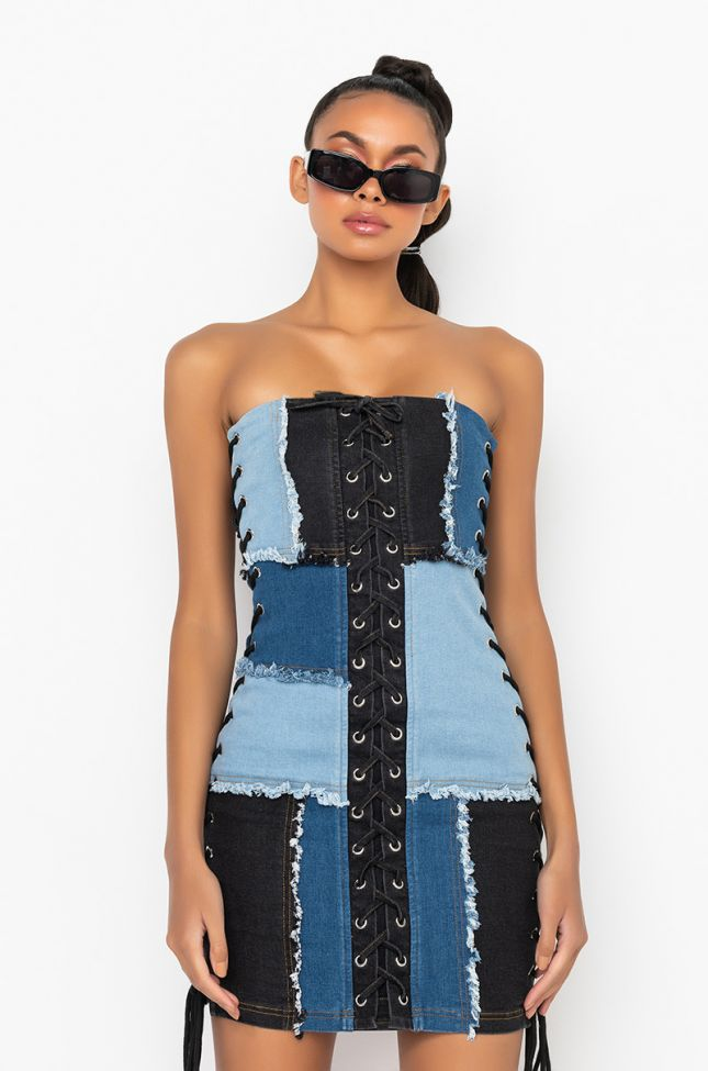 Front View Hate Me But Love Me Mini Distressed Denim Dress With Lace Ups in Medium Blue Denim