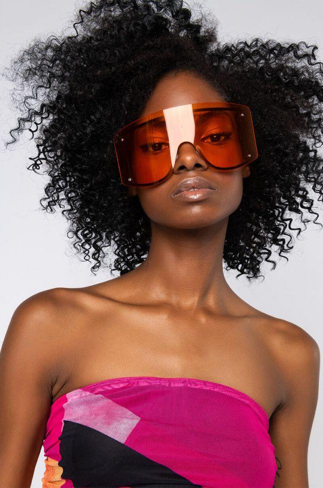 Front View Hater Blockers Orange Shield Eyewear in Orange