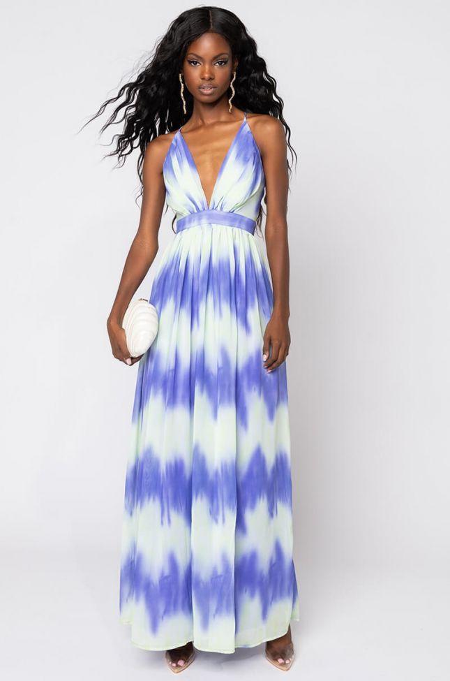 Front View Havana Vibe Maxi Dress in Blue Multi