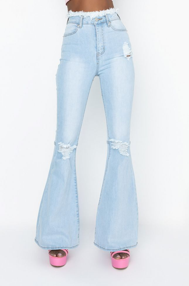 Front View Have Some Fun High Rise Flare Jeans in Light Denim