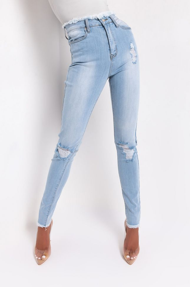 Front View Have Some Fun High Rise Skinny Jeans in Light Blue Denim