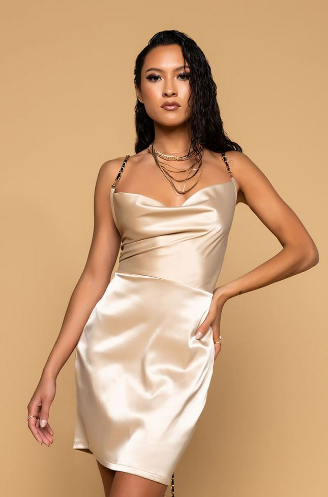 Front View He Been Actin Up Chain Detail Mini Dress in Beige
