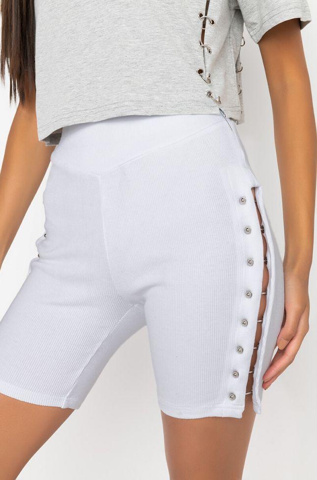Detail View Head Sprung Piercing Detail Biker Shorts in White
