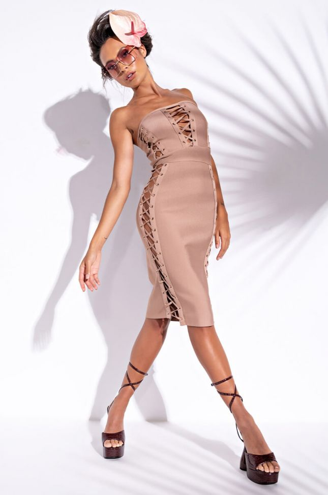 Head Turner Bandage Lace Up Mini Dress in Light Brown