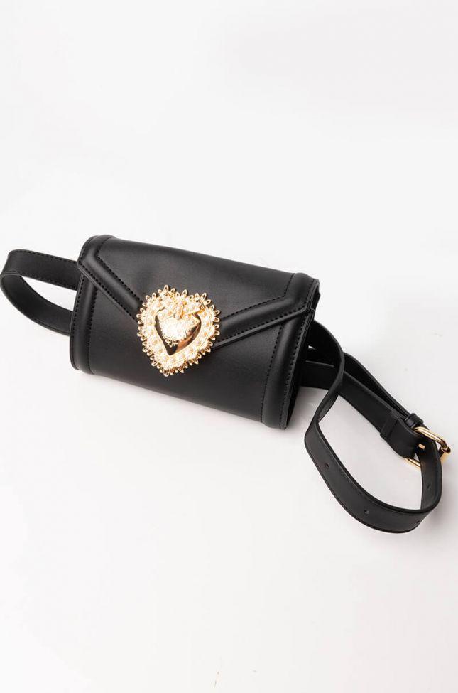 Side View Heart Of Gold Belt Bag in Black