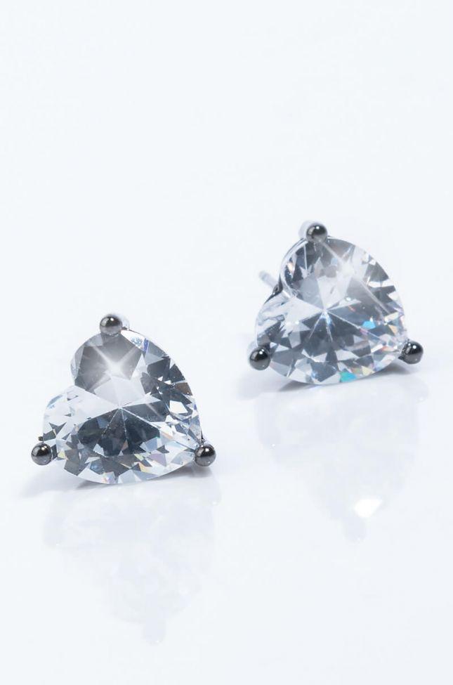 Side View Heart Shaped Love Stud Earring in Hematite