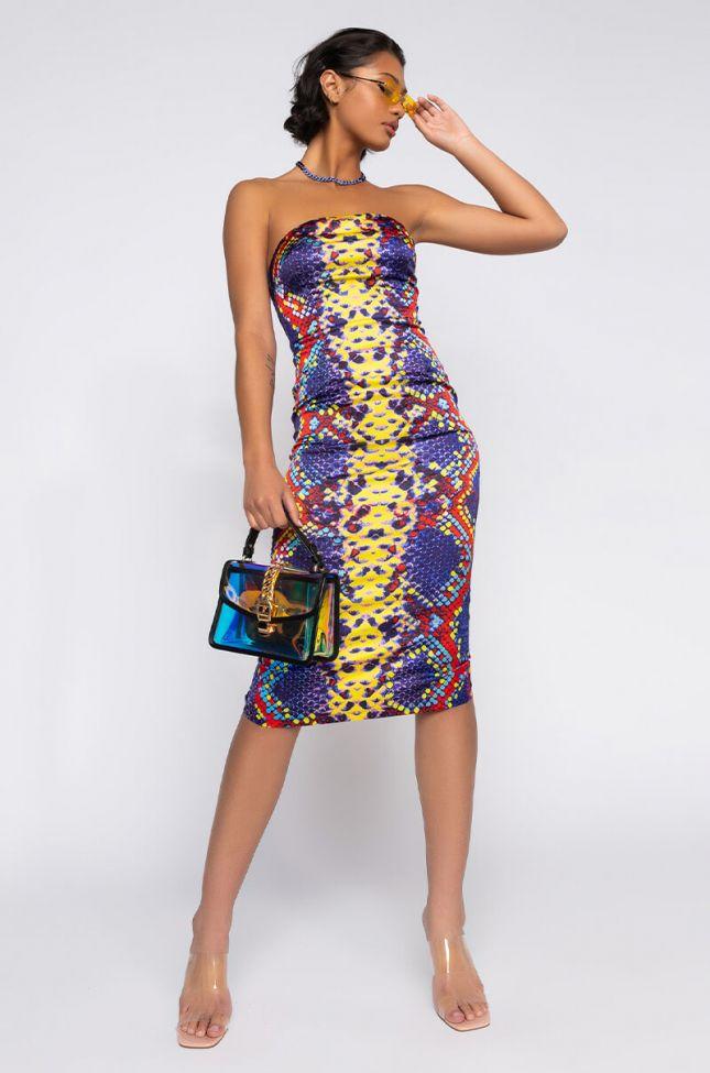 Front View Heartbreak Hotel Snake Print Tube Dress in Purple Multi