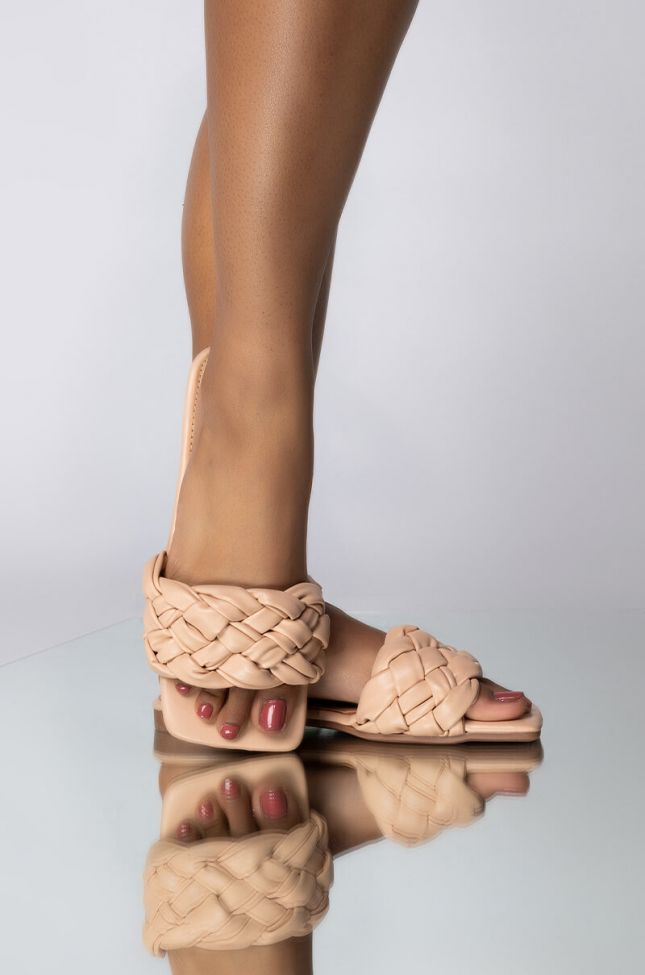 Front View Hearts On Overdrive Flat Sandal in Nude