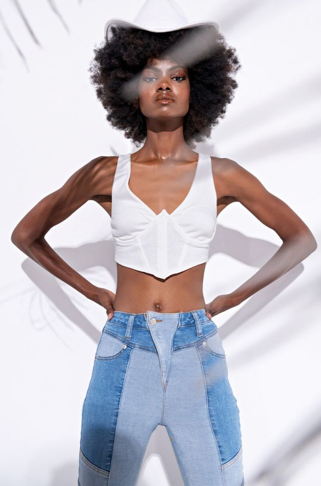 Front View Heaven Sent Corset Top in White