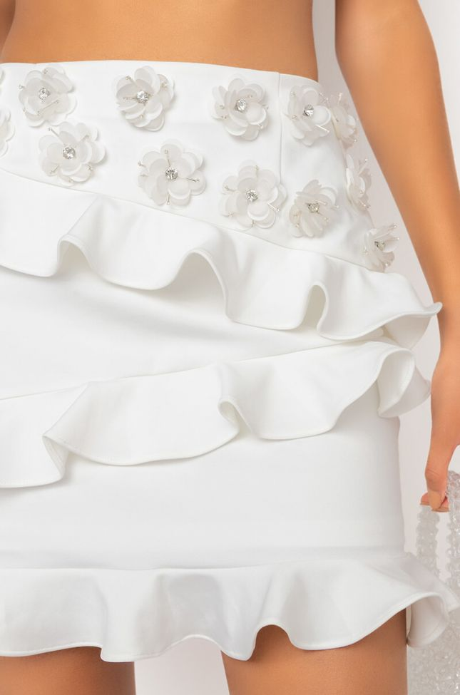 Detail View Heaven Sent Mini Skirt With Flower Applique in White