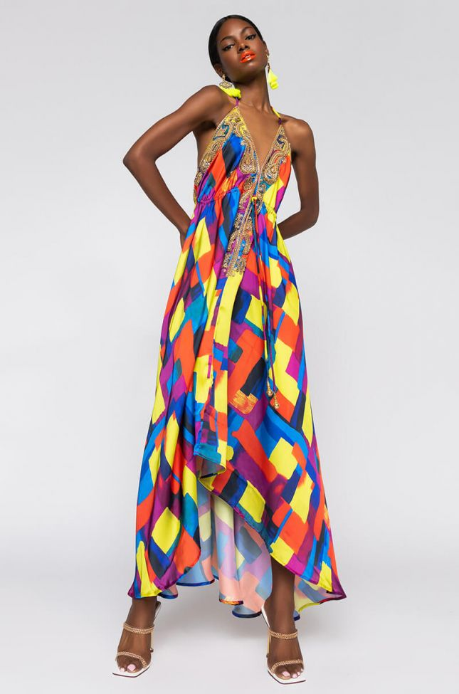 Front View Hello Luxx Maxi Dress in Yellow Multi
