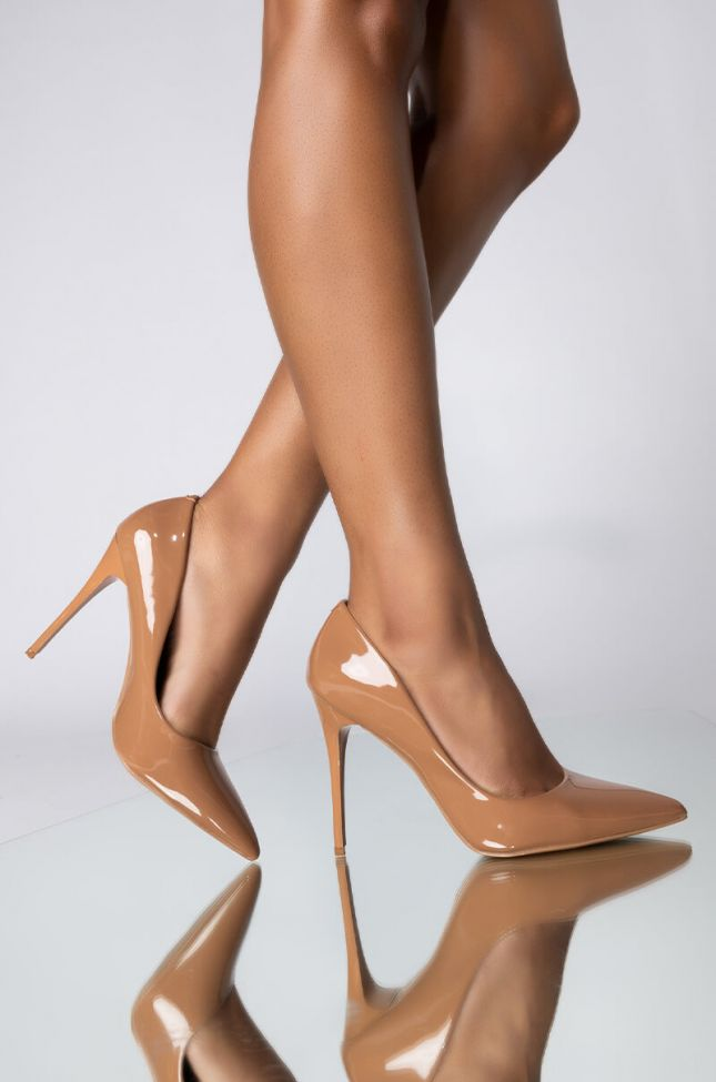 Front View Here To Stay Stiletto Pointed Toe Pump in Dark Nude