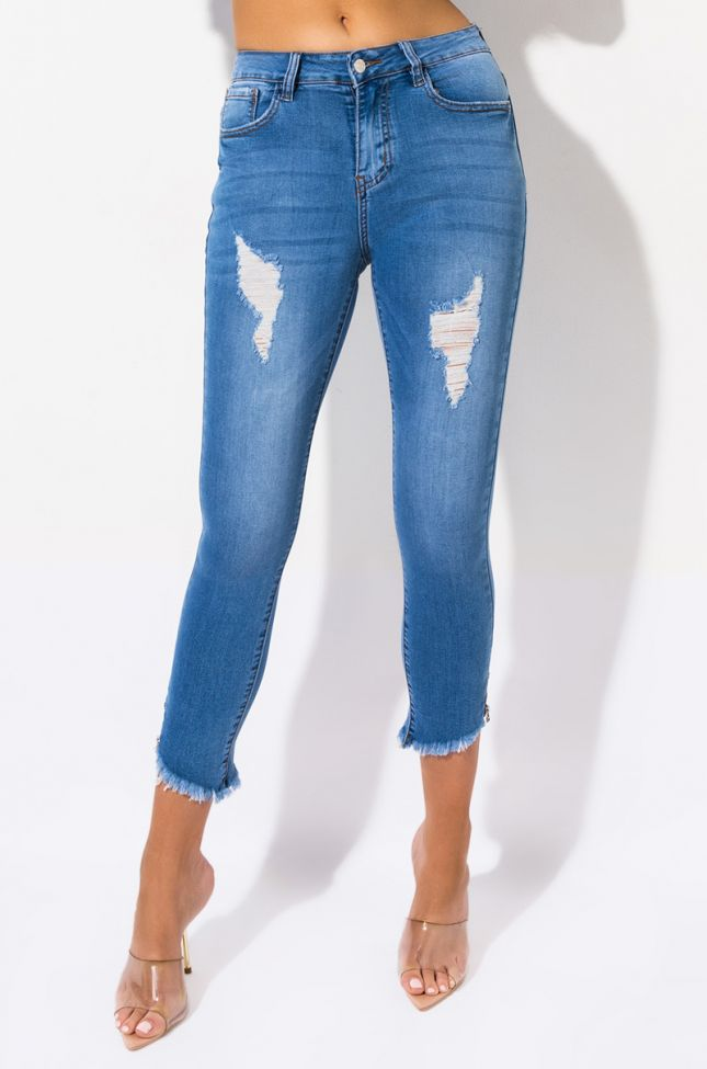 Front View Hermosa Mid Rise Skinny Jeans in Medium