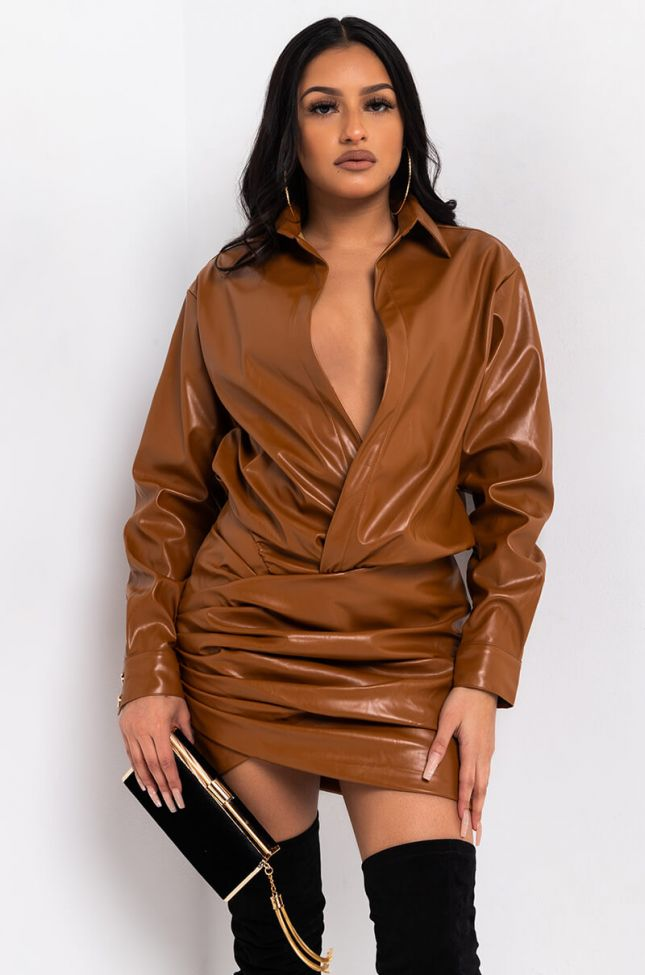 Front View Hey Big Spender Long Sleeve Mini Dress in Camel