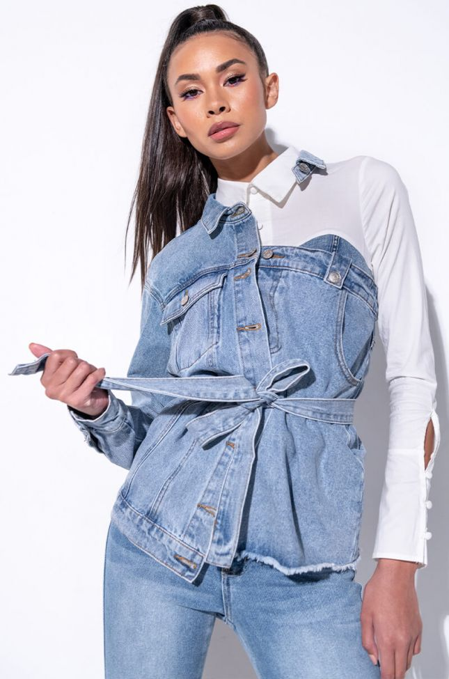 Front View Hey Now Cut Out Denim Jacket
