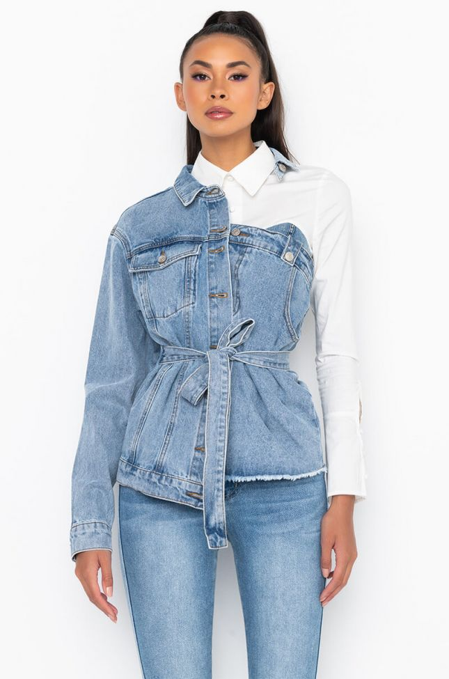 Side View Hey Now Cut Out Denim Jacket