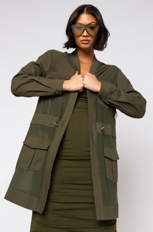 Front View Hey Now Mesh Blazer Duster in Olive