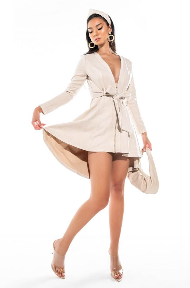 Extra View Hey There Mini Long Sleeve Suede Dress