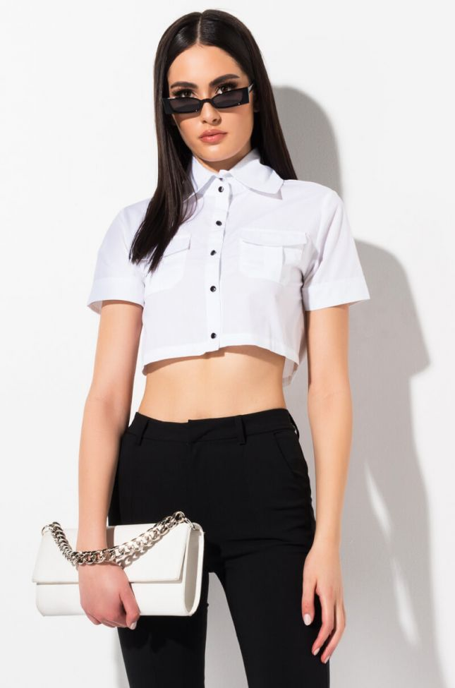 Front View Hidden Treasure Button Down Blouse in White