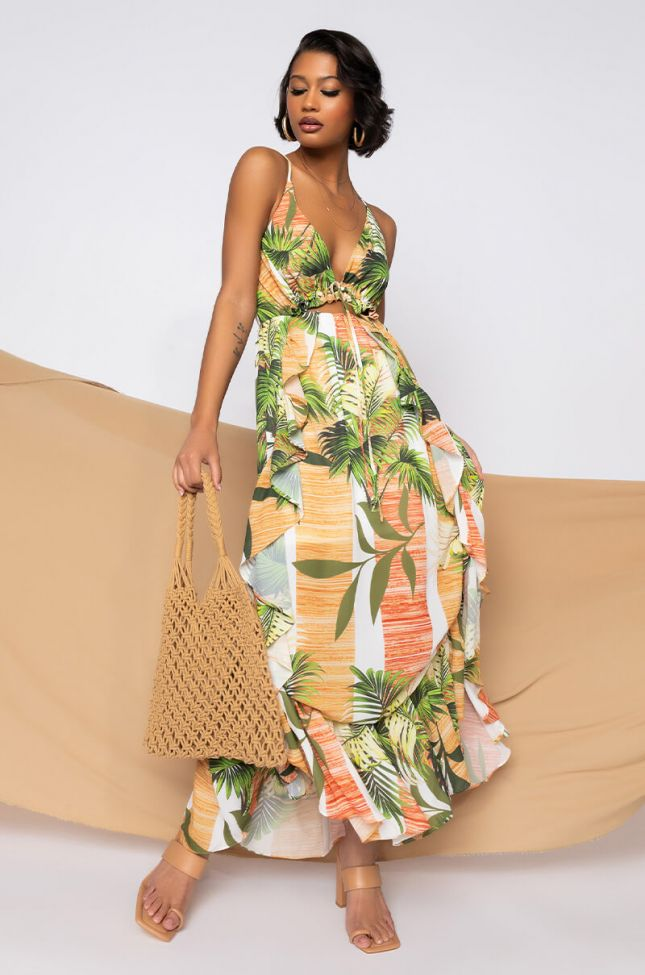 High End Lady Maxi Dress in Yellow Multi