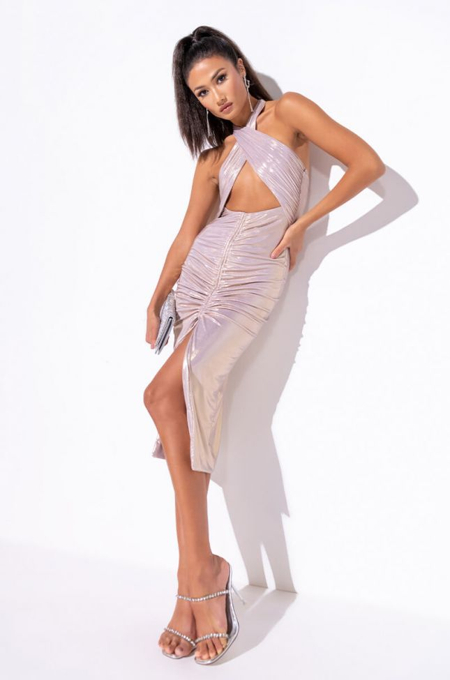 Front View High Key Relevant Midi Ruched Dress in Pink